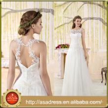VIL-06 Custom made Lace Appliques Scoop Neck Tulle A-line Floor Length Sleeveless Wedding Dress
