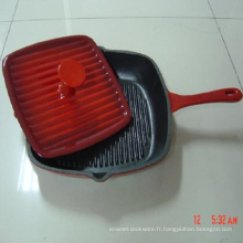 Poêle à frire carrée / poêle à frire en fonte émaillée émaillée avec presse