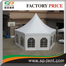 4 x 8 m outdoor pop up camping tent in hexagon shape