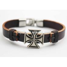 Best Designed Leather Cuff Charm Cross Friendship Bracelet for sale