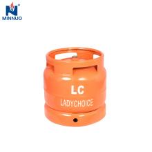Botella de acero del lpg pequeña 6kg para Suráfrica, tanque de gasolina rellenado usado