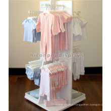 Kids Clothes Shop Decoration Fixture Free Standing Baby Clothing Store Wooden Clothes Display Stand