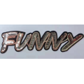 golden color funny letters sequin badge