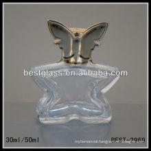 30/50ml perfume bottle, butterfly shape glass perfume bottles, perfume bottle with shiny silver cap