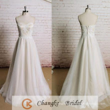 Custom Made Wedding dress Sweetheart Backless Applique Ivory Tulle Bridal Gown