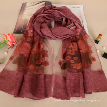 New arrival nice embroidery rose design floral fashion cotton lady scarf wholesale