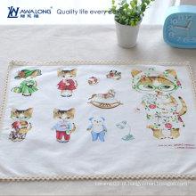 Tapete de mesa de tecido de linho design branco desenhos animados para esteira de jantar crianças