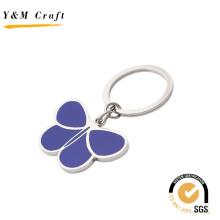 Beau porte-clés en métal en forme de papillon avec couleur jaune (Y02630)