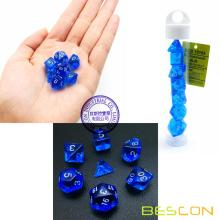 Bescon Mini Translucent Polyhedral RPG Dice Set 10MM, Small RPG Role Playing Game Dice Set D4-D20 in Tube, Transparent Blue