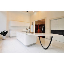 Amazing High Gloss White Curved Bench Top Armoires de cuisine
