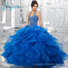 Two Pieces Sequined Beading Ball Gowns Blue Puffy Quinceanera Dresses