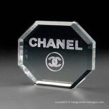 Gravure en verre de cristal d'octogone de forme libre de Paper-Free