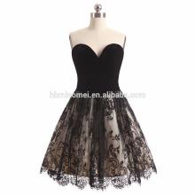 2017 neue Art und Weise schwarze Farbe kurzes Arthochzeitskleid weg von der Schulterdiamantdekoration-Hochzeitskleid Braut