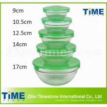 5PCS Glass Mixing Fruit Bowl Set with Lid