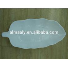Высококачественный лист форма гостиницы тарелка белый фарфор