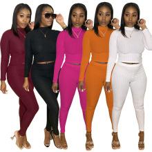 C7185 Release Womens Joggers Crop Top Two Piece Set Long Sleeve Fall Two Pieces Plus Size Jogger Tracksuit Set Women Pants Set