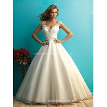 2016 Reich V-Linie Kappen-Hülsen-Brautkleid, das Hochzeits-Kleid bördelt