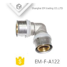 EM-F-A122 Acoplamiento de compresión niquelado de latón codo macho igual Codo