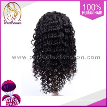 In Stock Factory Price Remy Italian Curl Long Lace Jewish Curly Wigs