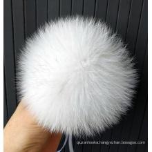 White real fox fur balls big pom pom