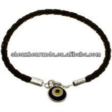 Китай поставщик черный кожаный ожерелье с кругом кулон, мода ожерелье 2014