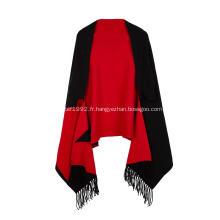 Cape poncho tricot extensible jacquard à pampilles pour femmes