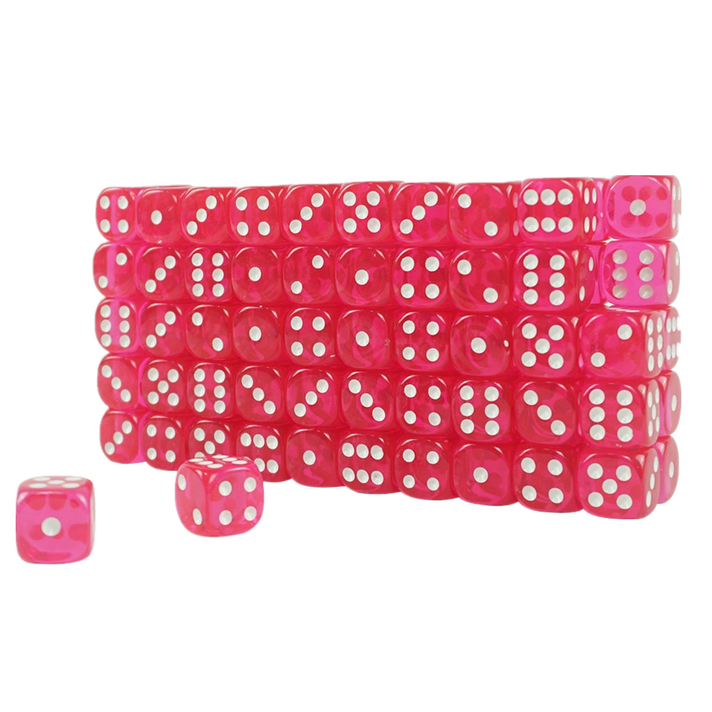 High Quality Acrylic Transparent Casino Dice Pink