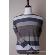 Homens de pullover de cashmere listrado de cor