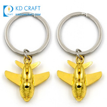 Wholesale china custom metal zinc alloy doming 3d gold plated aircraft airplane aviation keychain for decoration