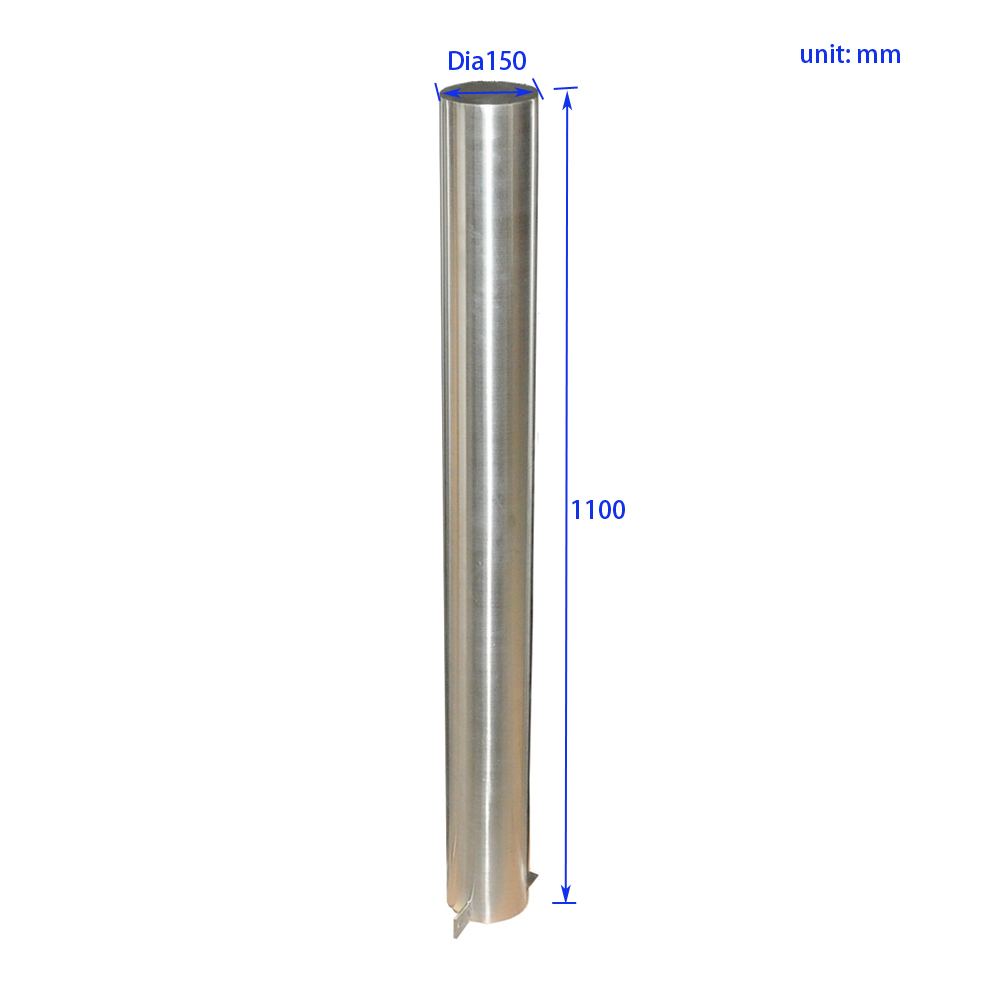 SWT0006 1100mm Commercial Stainless Steel Sidewalk Bollard Post Size