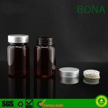 60ml 90ml 150ml Amber Plastik Haustier Pille Flasche mit Cap und Folie Liner oder Druck Sensitive Liner