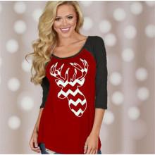 T-shirt da cor da impressão do tema do Natal do projeto novo (80009)