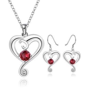 Joyería de moda establece la forma del corazón Zircon plata plateada collar y aretes