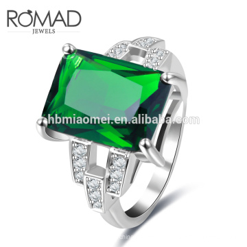 Venda Por Atacado oem moda anel de prata profunda pedra verde claro cz anéis de esmeralda indianos
