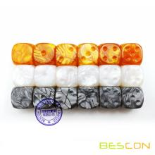 Bescon Raw Unpainted Marble 16MM Game Dice with Blank 6th Side, 3 Assorted Color Set of 18pcs, Blank Marble Die