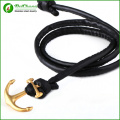 fashion PU leather hand made Stainless Steel anchor bracelet Bangle