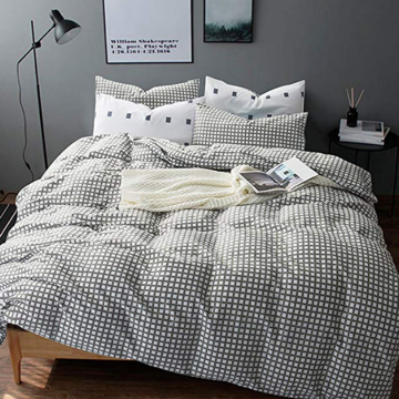 CVC 25/75 Gray Plaid Duvet Omslag