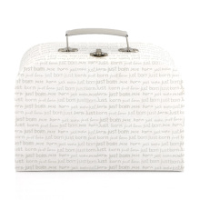 Wholesale cardboard portable metal lock paper box custom logo mini suitcase