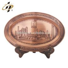 Promotional cheap custom metal zinc alloy valentine gift city building engraved souvenir plate
