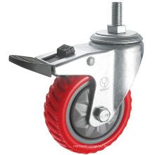 Medium Duty Antiskid PU Caster Wheel (Red) (Y3208)