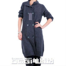 Modern double-breasted knitted pure cashmere swearter dress