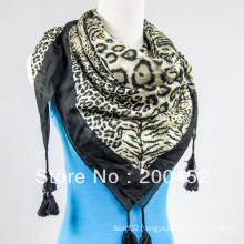 Silk Cotton Big Square Scarf with Tassel