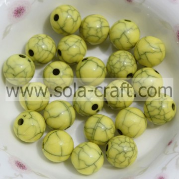 Big Sale Yellow Plastic Acrylic Crack Ball Beads For Earring