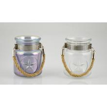 Alta qualidade do suporte de vela de vidro com alça de corda de juta