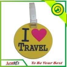 Tag personnalisé de bagage en PVC coloré personnalisé, étiquette de bagage en caoutchouc