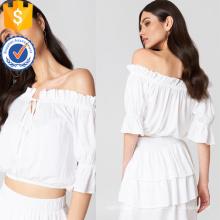 Белый off-плечи три четверти длины рукава трепал летний Топ оптом производство модной женской одежды (TA0086T)