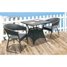 Outdoor Patio Restaurant Chair Bistro Table Brown PE Resin Rattan Wicker Leisure Furniture 2+1