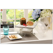 wholesale ceramic square cake plate with steel rack
