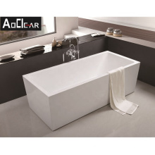 Aokeliya cheap whirlpool rectangular freestanding bathtub solid surface large space bathtub for all ages