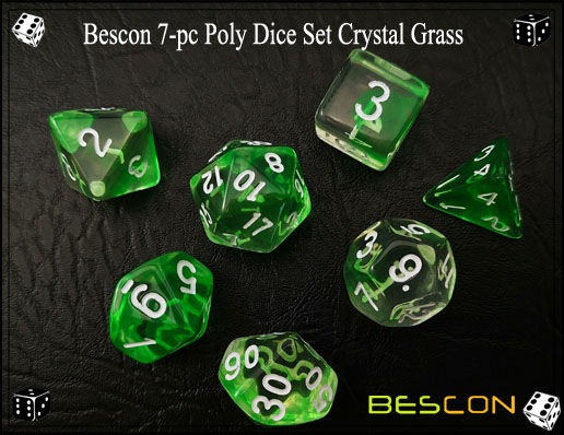 Crystal Green Dice Set-5